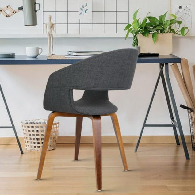 2 x Timber Wood and Fabric Dining Chairs - Charcoal - The Home Accessories Company 2