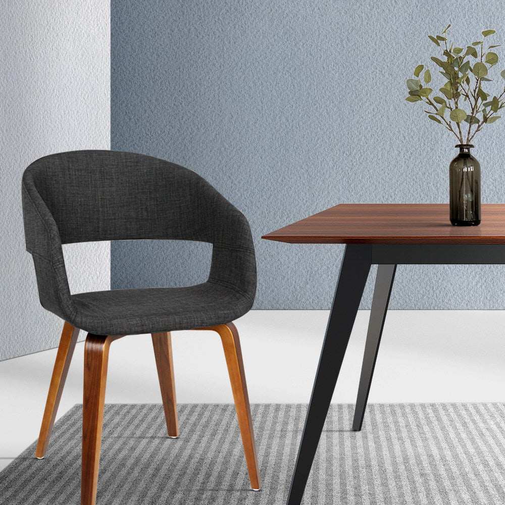 2 x Timber Wood and Fabric Dining Chairs - Charcoal - The Home Accessories Company 3
