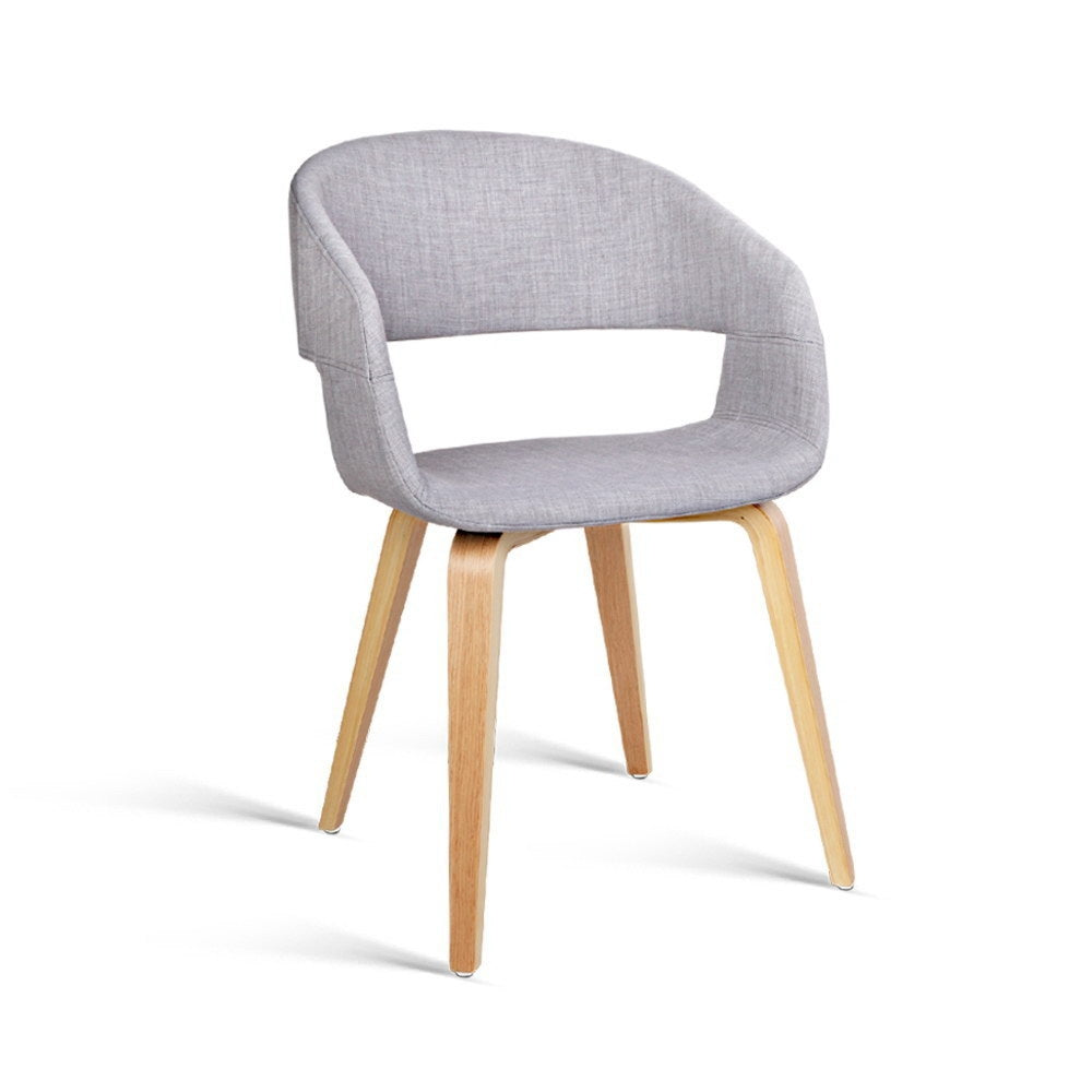 2 x Timber Wood and Fabric Dining Chairs - Light Grey - The Home Accessories Company