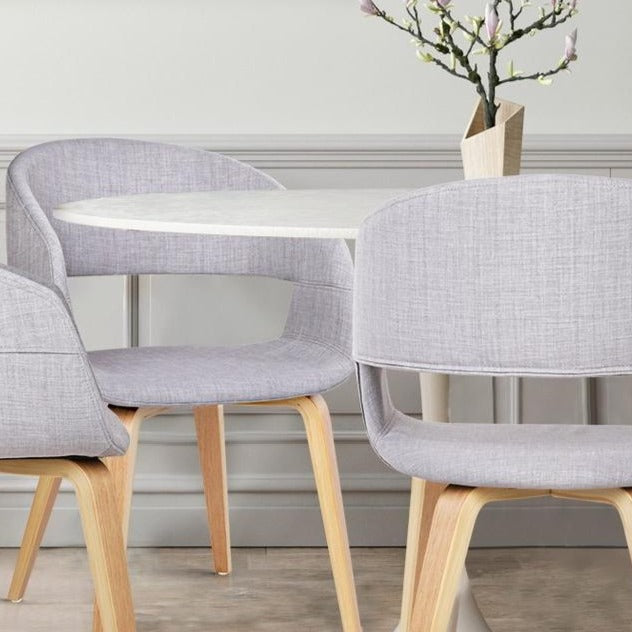 2 x Timber Wood and Fabric Dining Chairs - Light Grey - The Home Accessories Company 1
