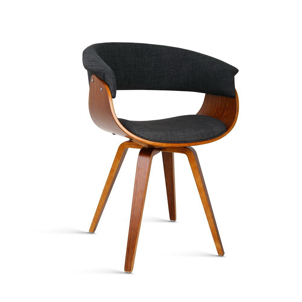 Retro Timber Wood and Fabric Dining Chair - Charcoal - The Home Accessories Company
