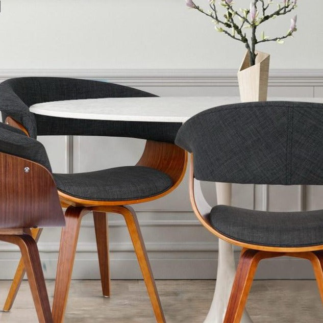 Retro Timber Wood and Fabric Dining Chair - Charcoal - The Home Accessories Company 1
