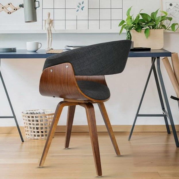 Retro Timber Wood and Fabric Dining Chair - Charcoal - The Home Accessories Company 2