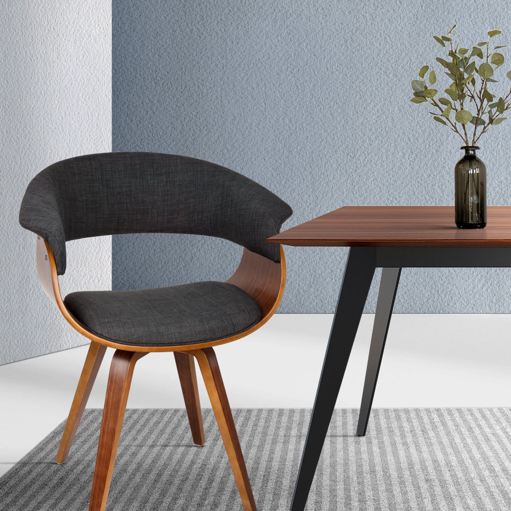 Retro Timber Wood and Fabric Dining Chair - Charcoal - The Home Accessories Company 3