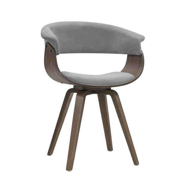 Velvet & Timber Dining Chair - Grey - The Home Accessories Company