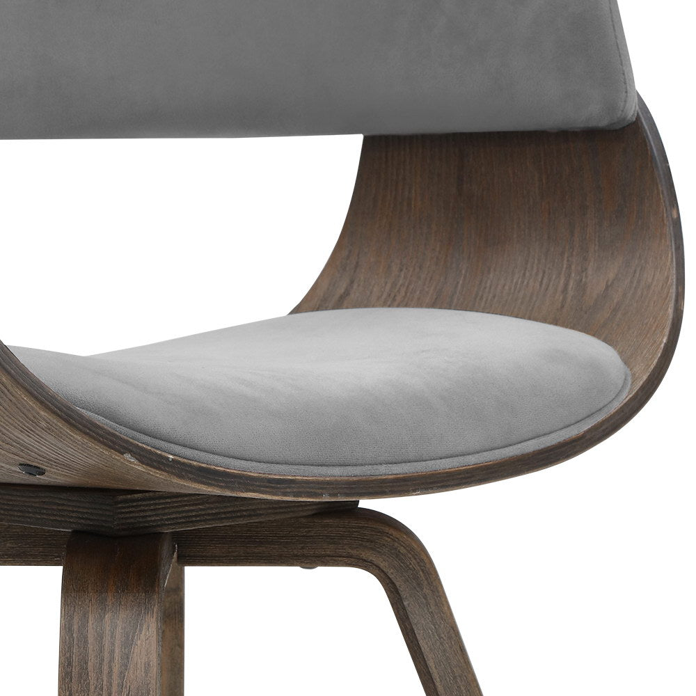Velvet & Timber Dining Chair - Grey - The Home Accessories Company 3
