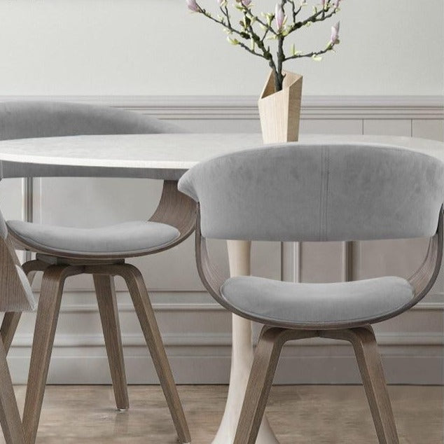 Velvet & Timber Dining Chair - Grey - The Home Accessories Company 1