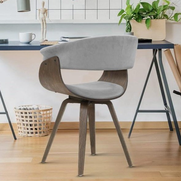 Velvet & Timber Dining Chair - Grey - The Home Accessories Company 4