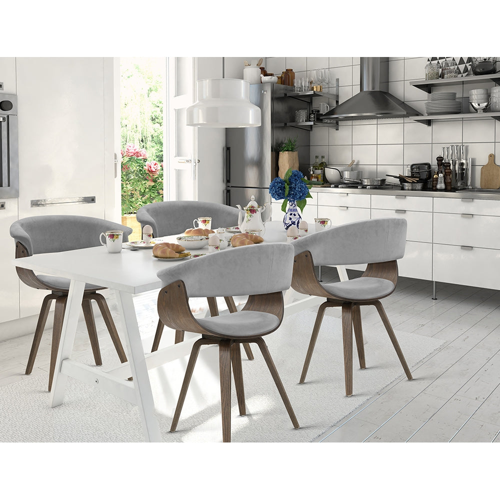 Velvet & Timber Dining Chair - Grey - The Home Accessories Company 2