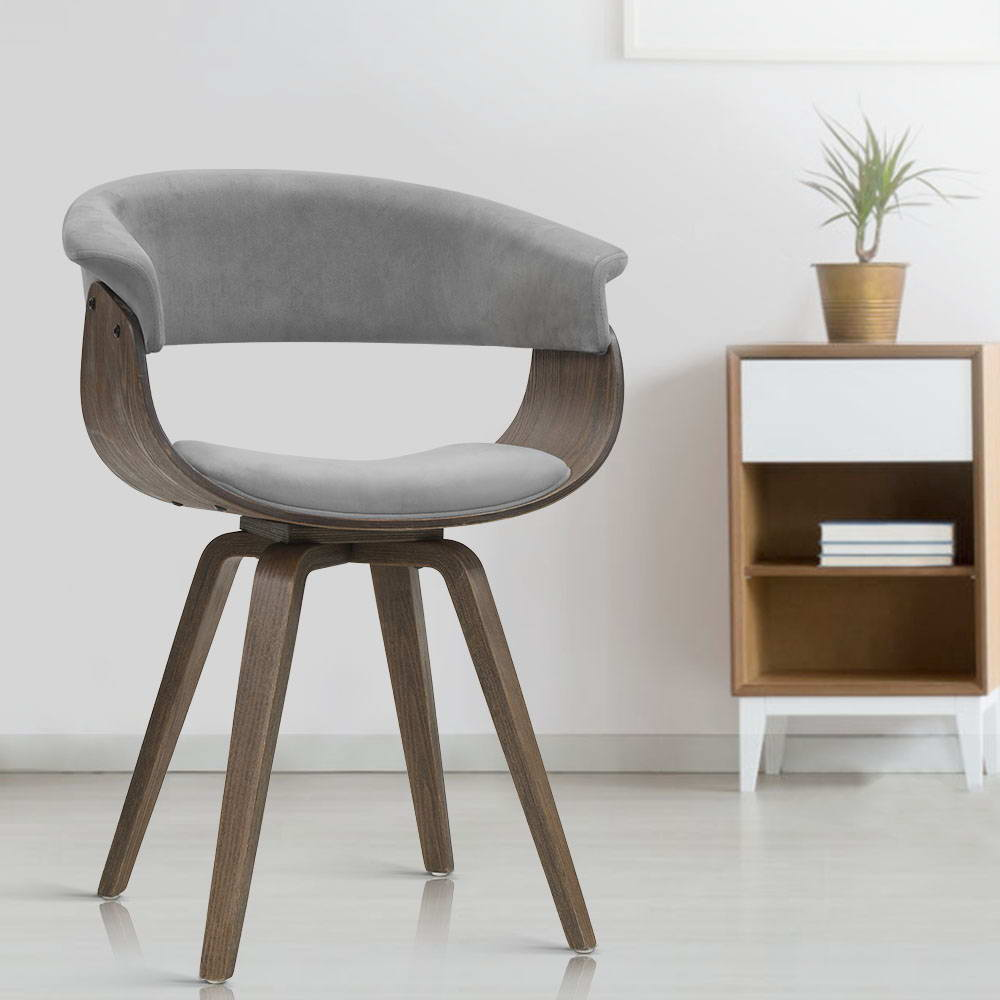 Velvet & Timber Dining Chair - Grey - The Home Accessories Company 5