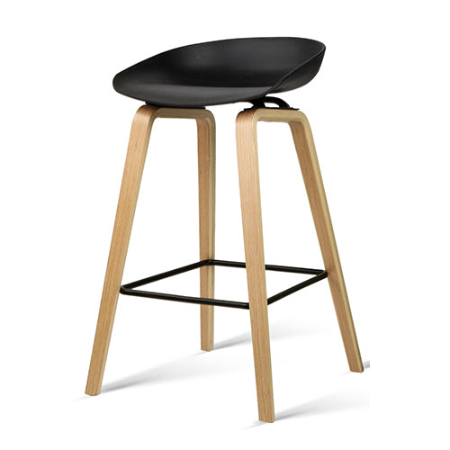 2 x  Wooden Backless Bar Stools - Black - The Home Accessories Company