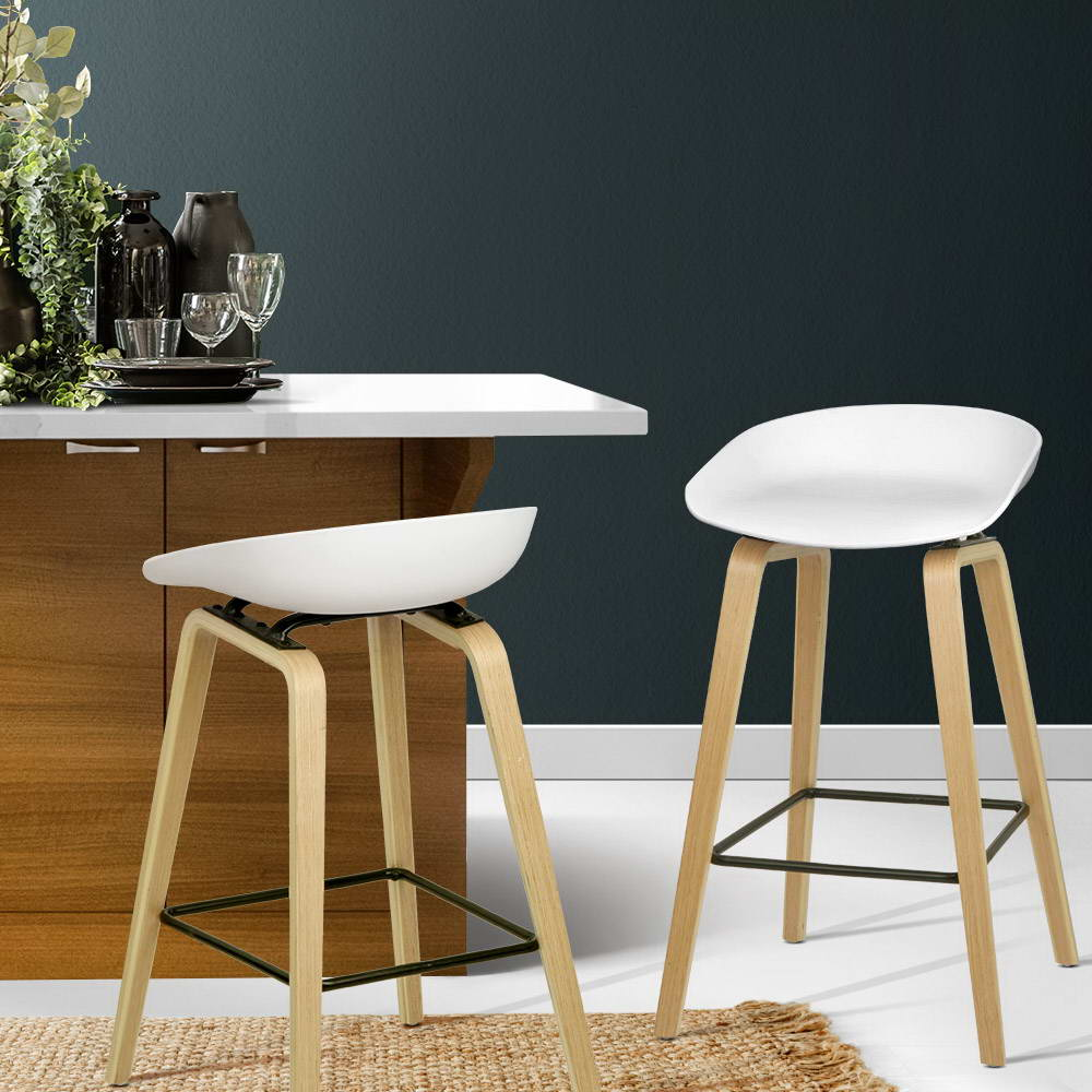 2 x Wooden Backless Bar Stools - White - The Home Accessories Company 4