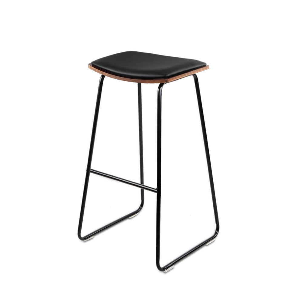 2 x PU Leather Backless Bar Stools - Black - The Home Accessories Company