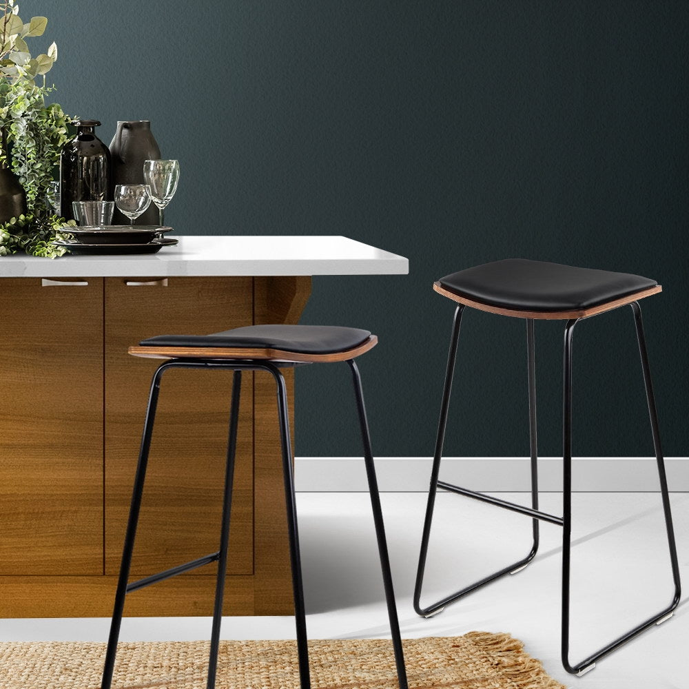 2 x PU Leather Backless Bar Stools - Black - The Home Accessories Company 2