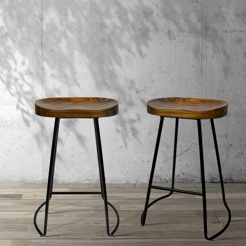 2 x Wooden Saddle Kitchen Bar Stools - The Home Accessories Company 3