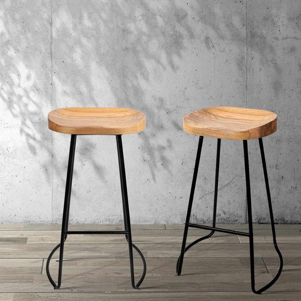 2 x Wooden Saddle Bar Stools - Natural - The Home Accessories Company 3