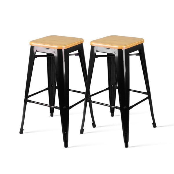 2 x Wooden Top Replica Tolix Stools- Black - The Home Accessories Company