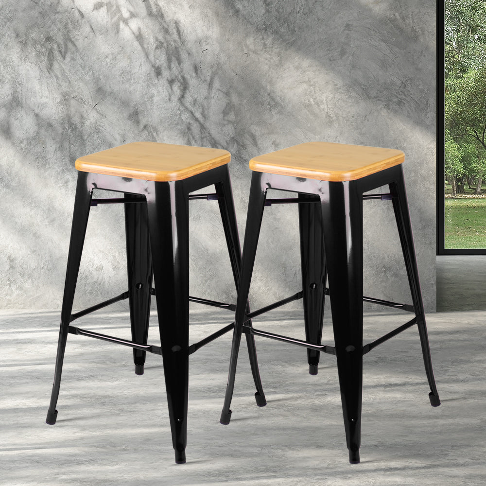 2 x Wooden Top Replica Tolix Stools- Black - The Home Accessories Company 3