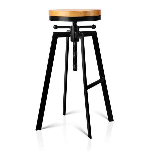 Industrial Adjustable Height Swivel Bar Stool - Black - The Home Accessories Company