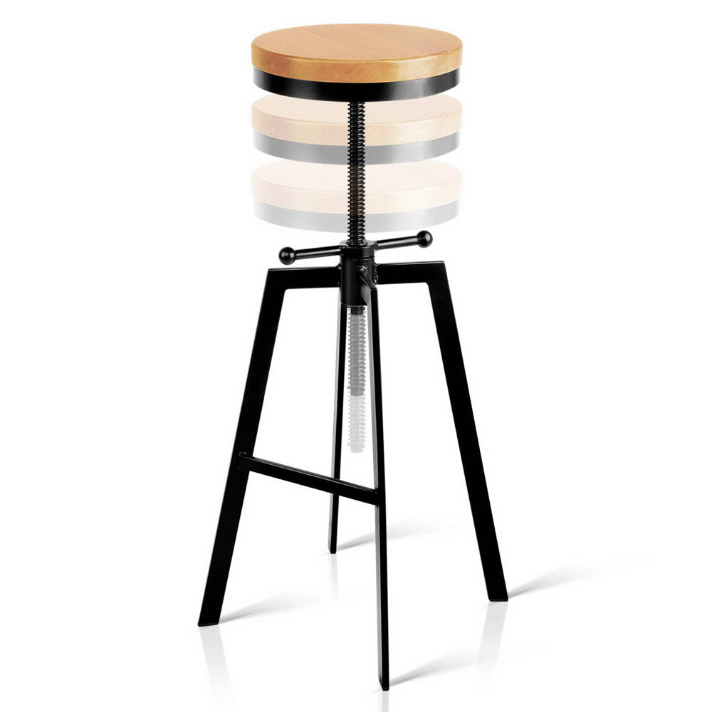 Industrial Adjustable Height Swivel Bar Stool - Black - The Home Accessories Company 2