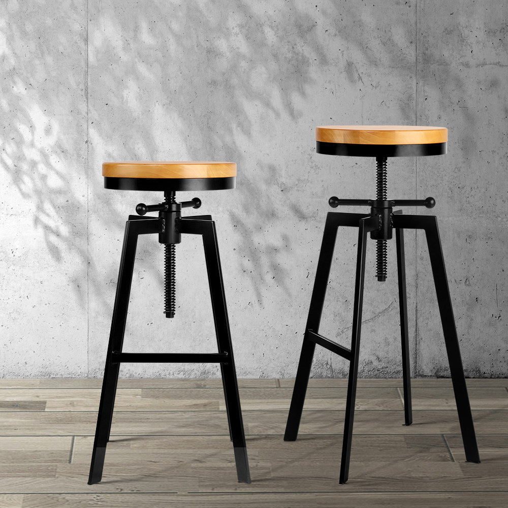 Industrial Adjustable Height Swivel Bar Stool - Black - The Home Accessories Company 5