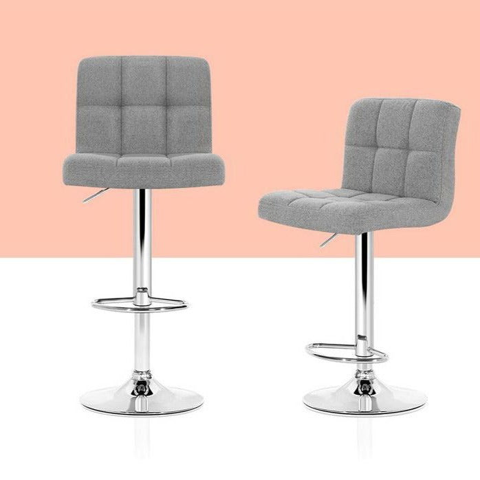 2 x Fabric Tessa Bar Stools - Grey - The Home Accessories Company 1