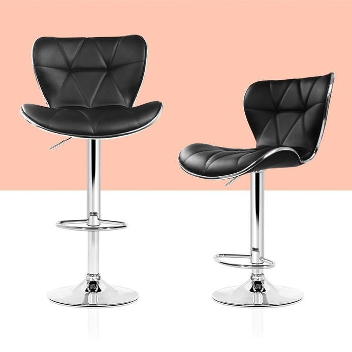 2 x PU Leather Bar Stools - Black - The Home Accessories Company 1