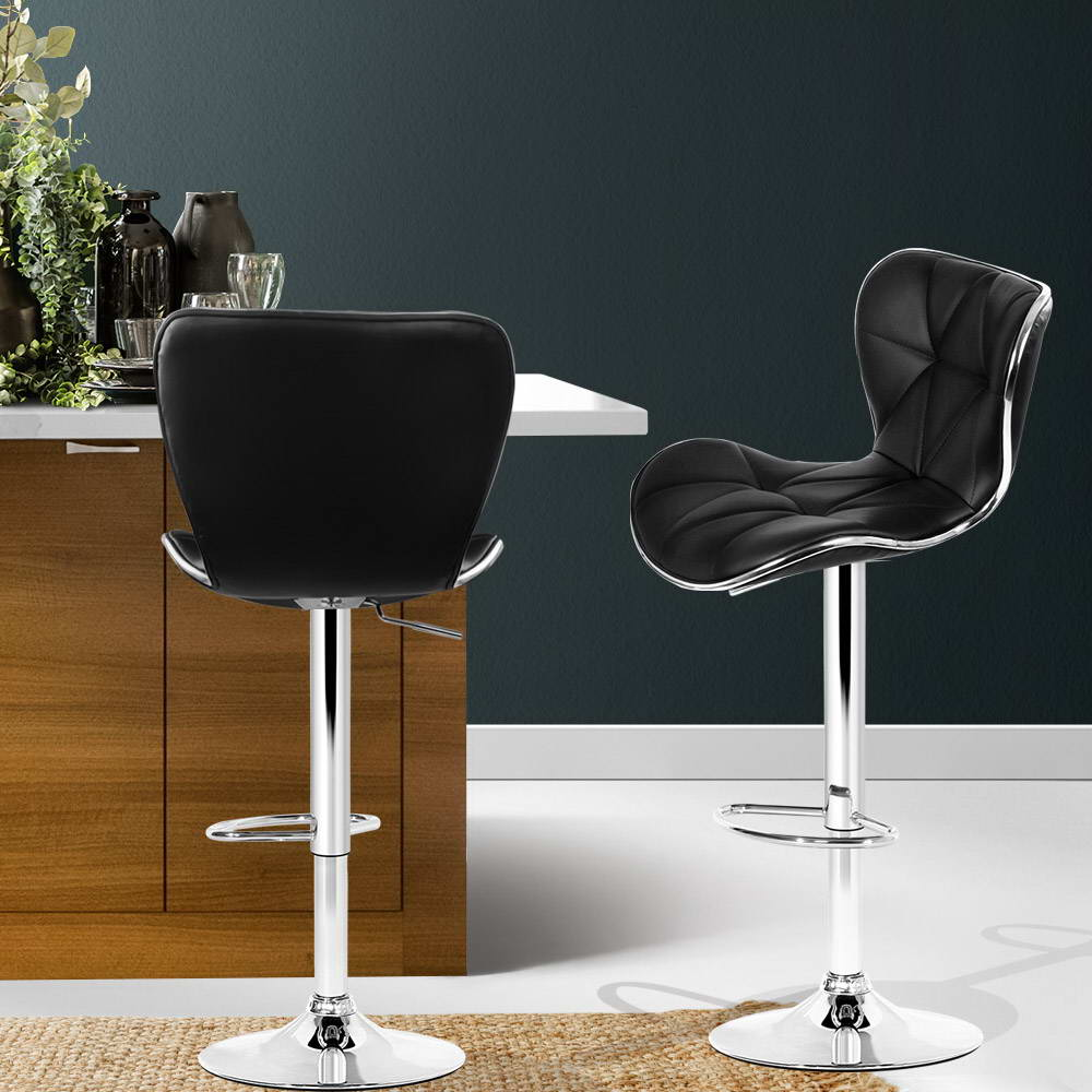2 x PU Leather Bar Stools - Black - The Home Accessories Company 4
