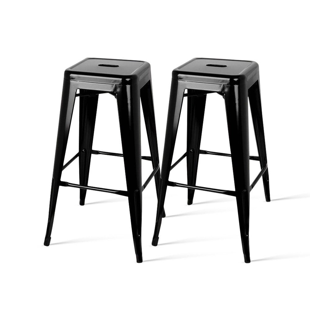 2 x Metal Replica Tolix Stools - Black - The Home Accessories Company