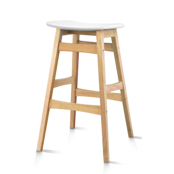 2 x Wooden and Padded Bar Stools - White - The Home Accessories Company