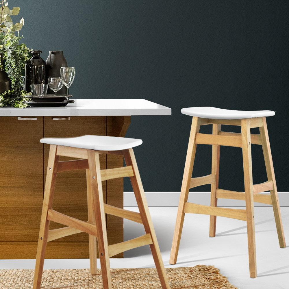2 x Wooden and Padded Bar Stools - White - The Home Accessories Company 3