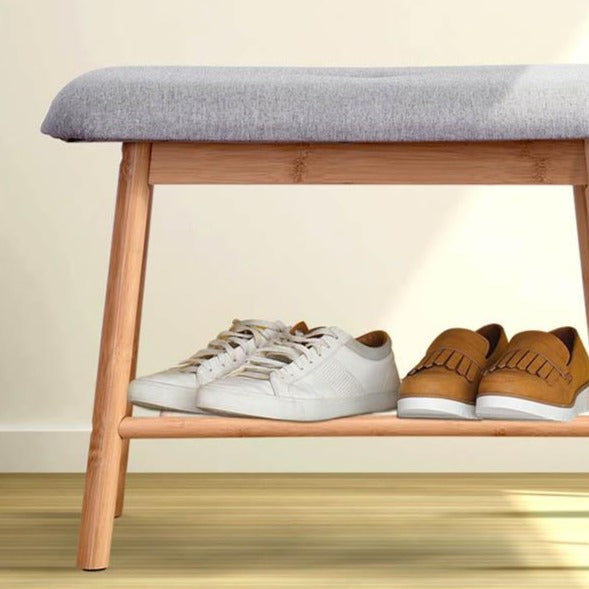 Bamboo Shoe Rack Bench - Grey - The Home Accessories Company 3