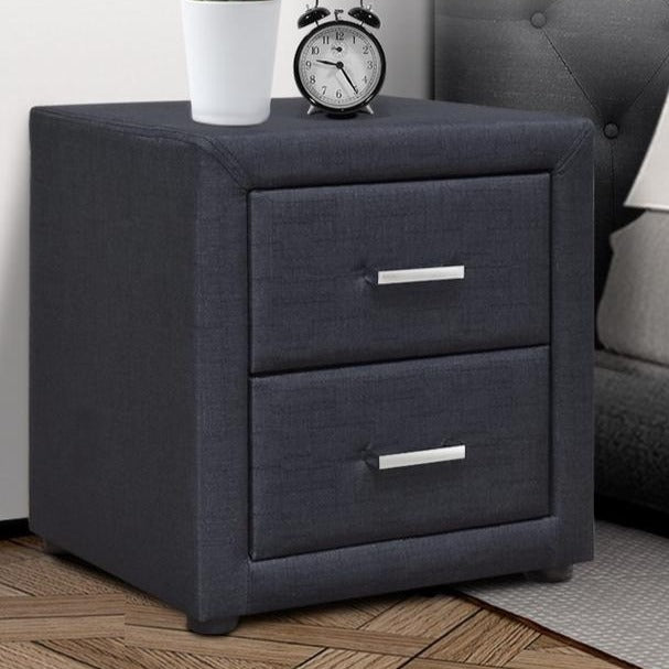 Modern Fabric Bedside Table - Charcoal - The Home Accessories Company 1
