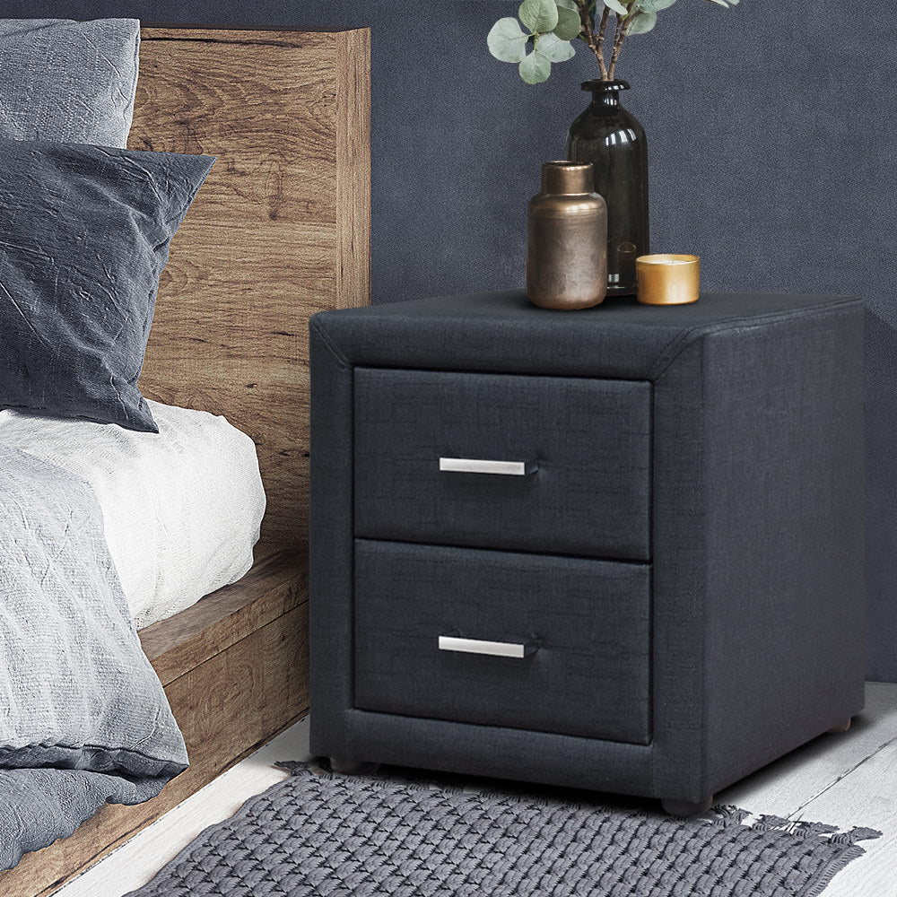 Modern Fabric Bedside Table - Charcoal - The Home Accessories Company 2