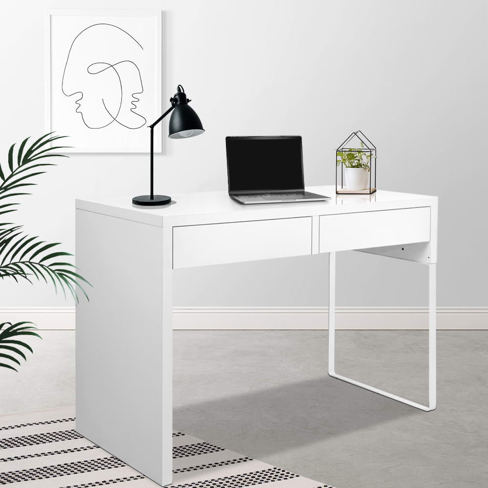 Metal Desk with 2 Drawers - White - The Home Accessories Company 4