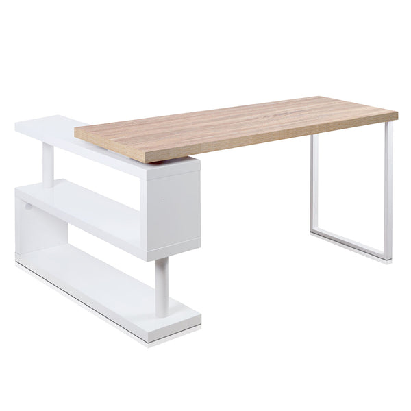 Rotary Corner Desk with Bookshelf - The Home Accessories Company