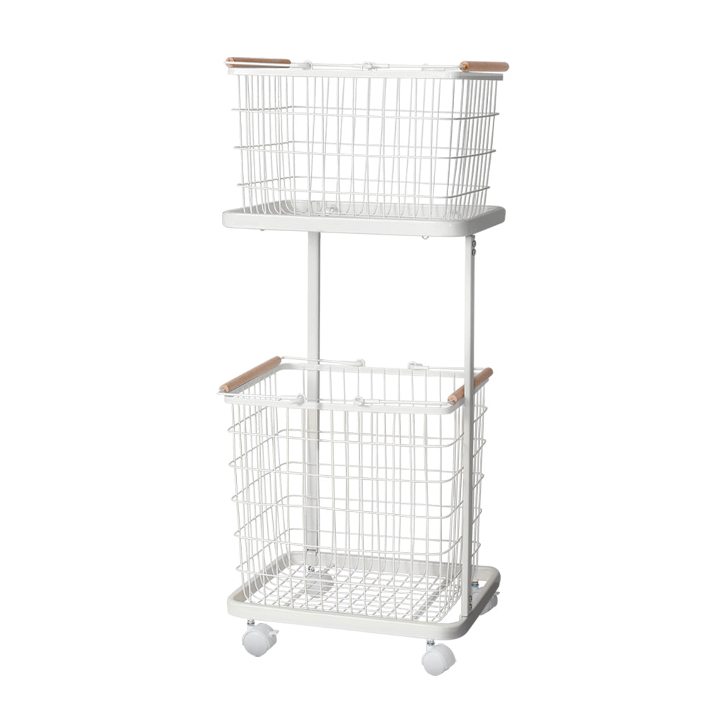 2 Tier Wire Storage Laundry Basket - The Home Accessories Company