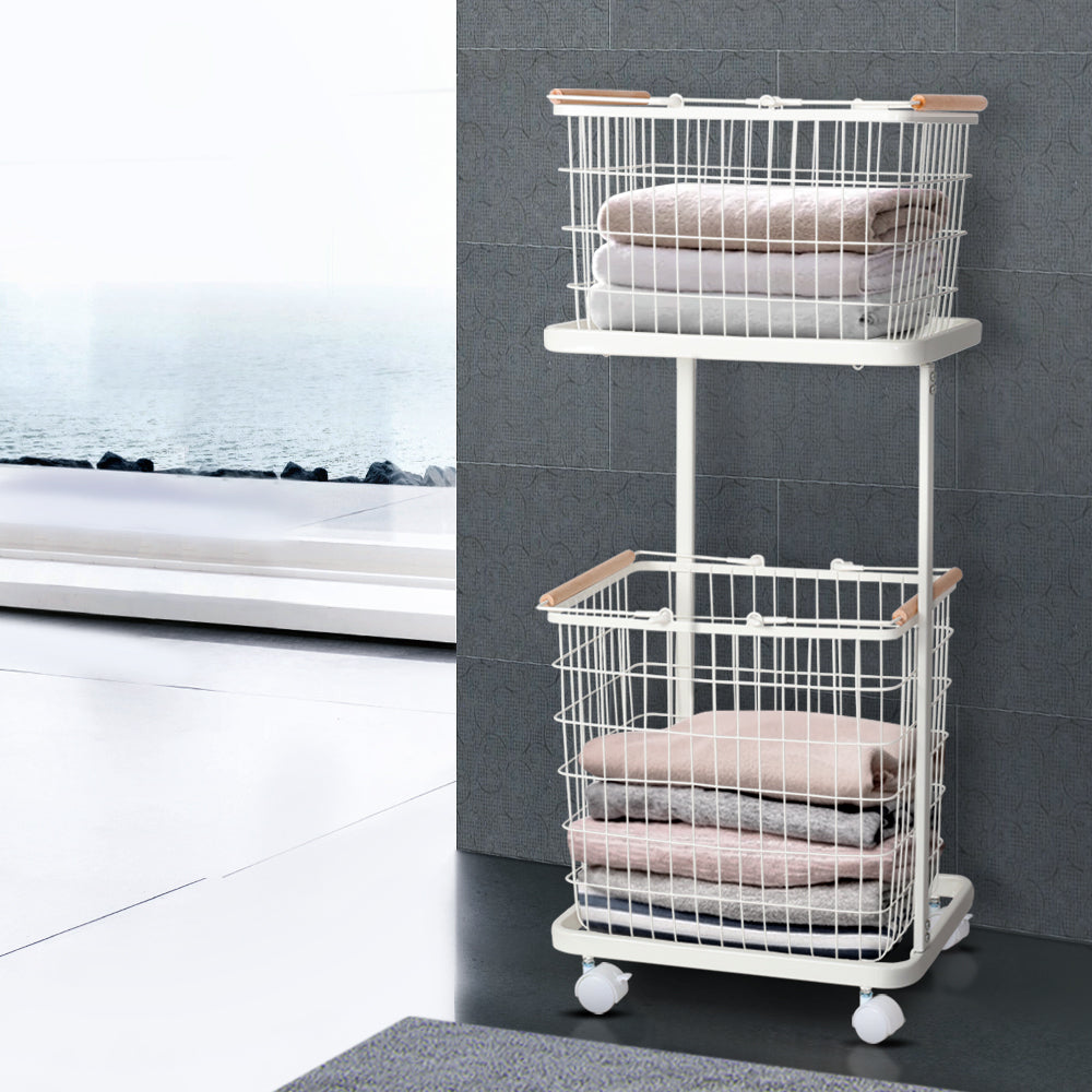 2 Tier Wire Storage Laundry Basket - The Home Accessories Company 1