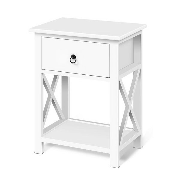 2 x Cross Detail Bedside Table - The Home Accessories Company