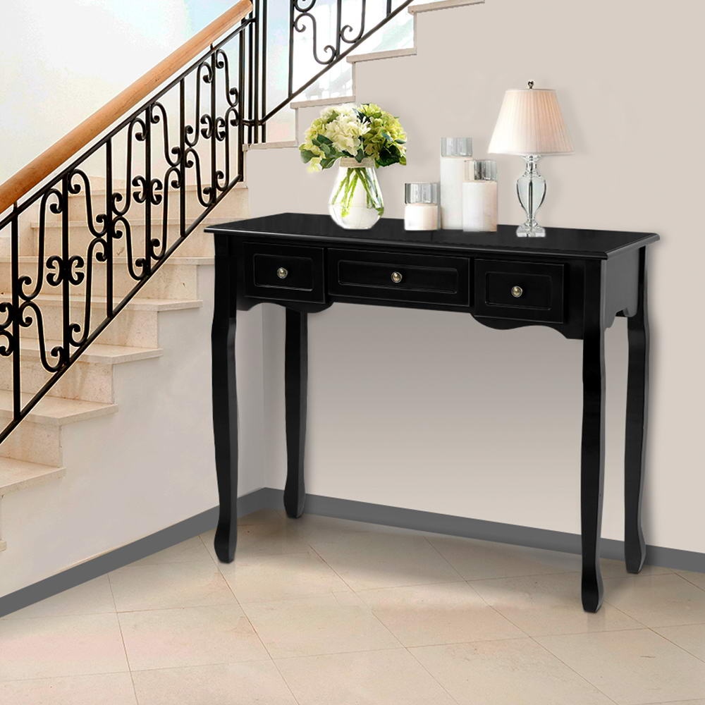 French Drawer Hall Console Table - Black - The Home Accessories Company 2