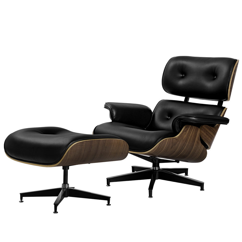 Replica Lounge Chair and Ottoman - Black - The Home Accessories Company