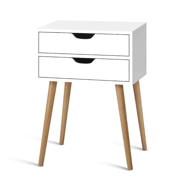 Two Drawer Bedside Table - White - The Home Accessories Company