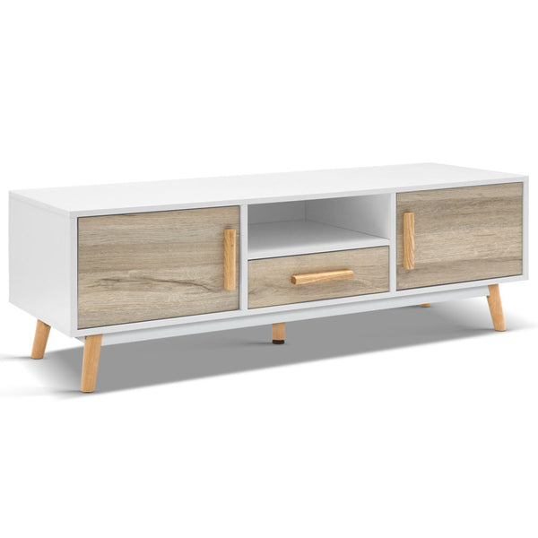 Wooden Entertainment Unit - White & Wood - The Home Accessories Company