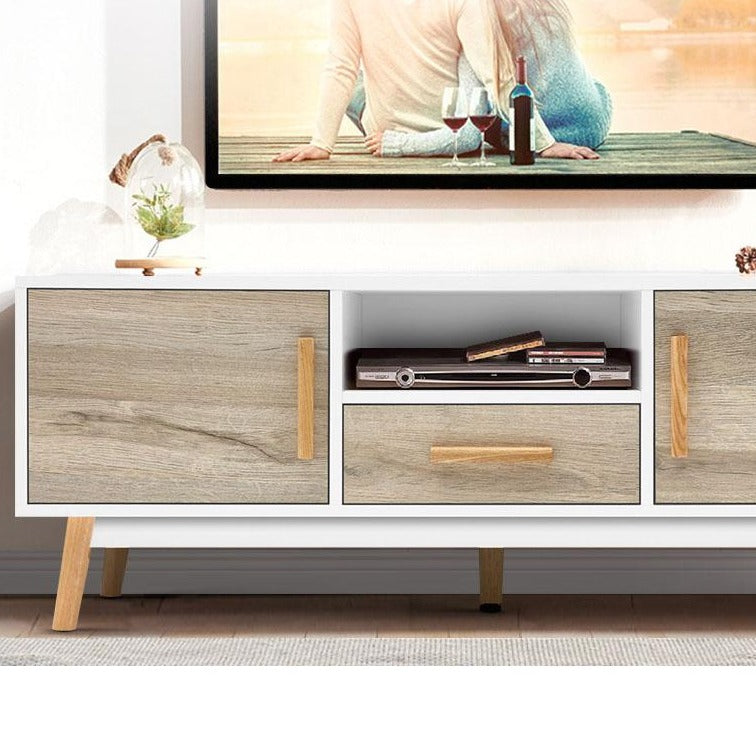 Wooden Entertainment Unit - White & Wood - The Home Accessories Company 1