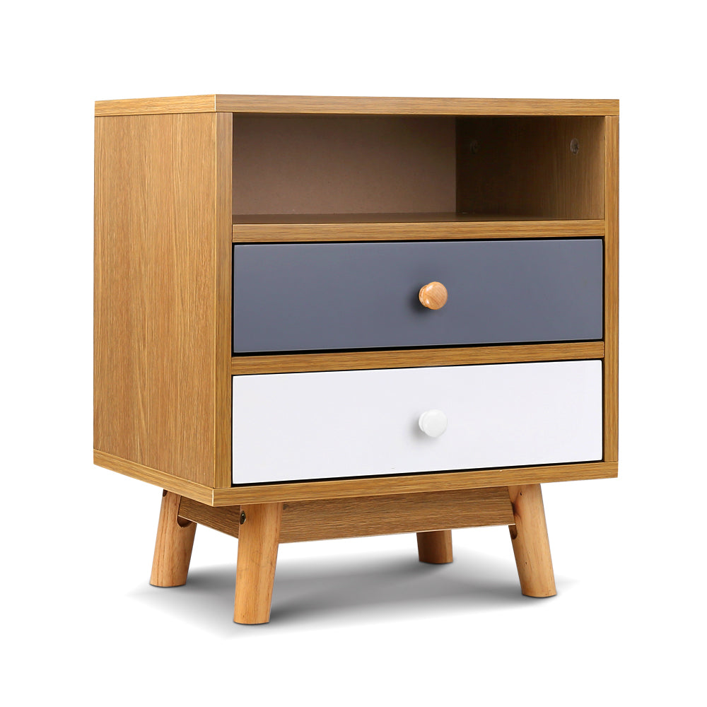 Colour Block Wooden Bedside Table - The Home Accessories Company
