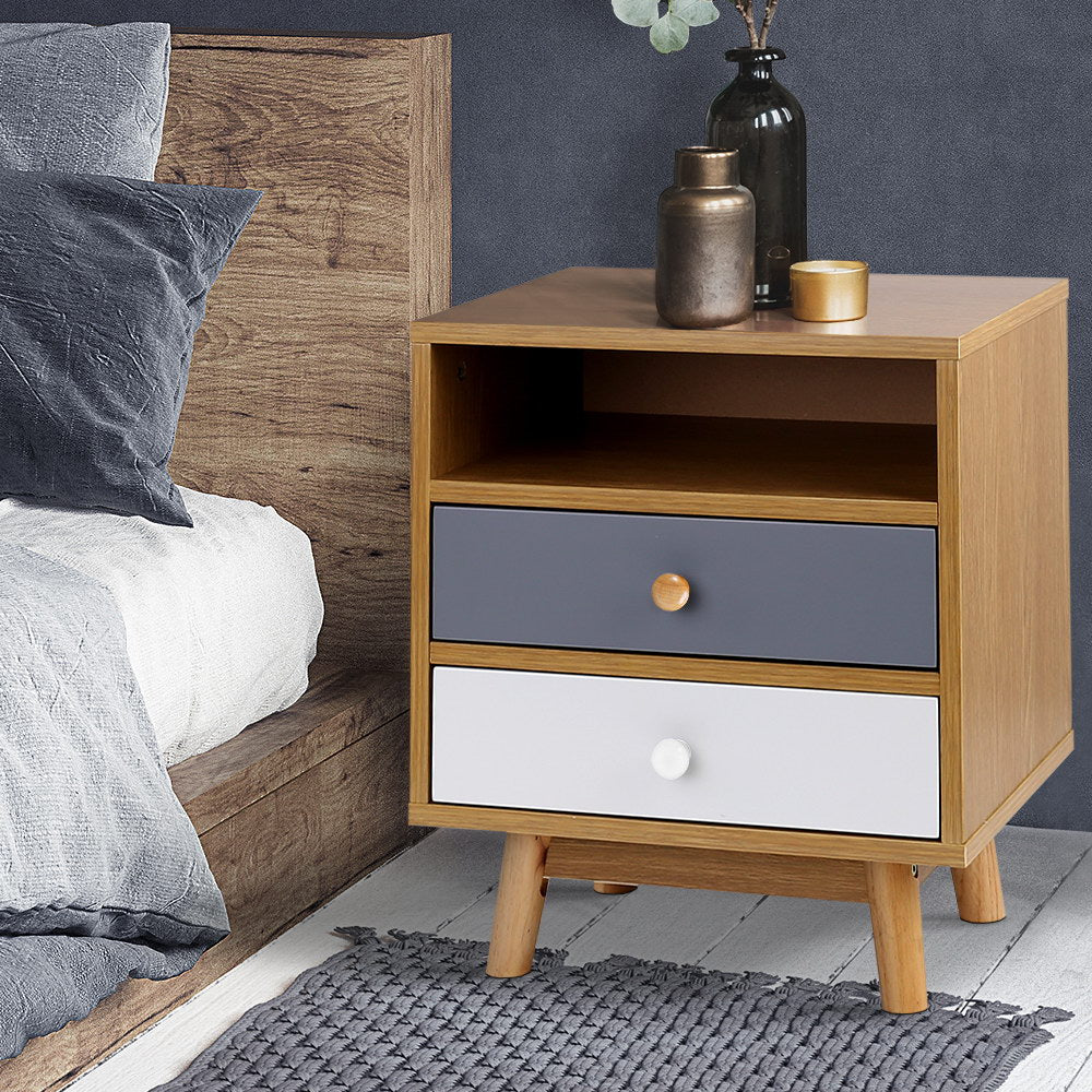 Colour Block Wooden Bedside Table - The Home Accessories Company 1