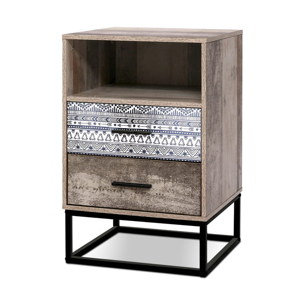 Patterned Draw Bedside Table - The Home Accessories Company