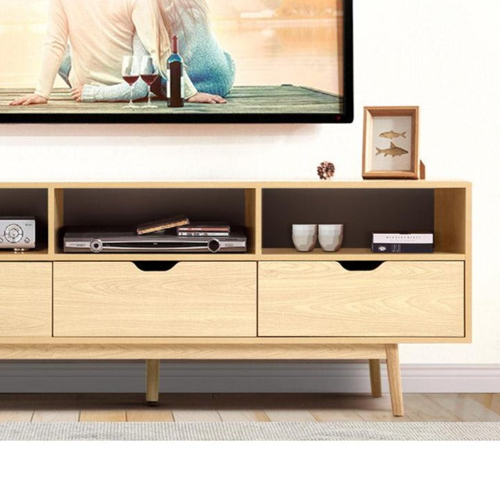 Wooden Scandinavian Entertainment Unit - Natural - The Home Accessories Company 1