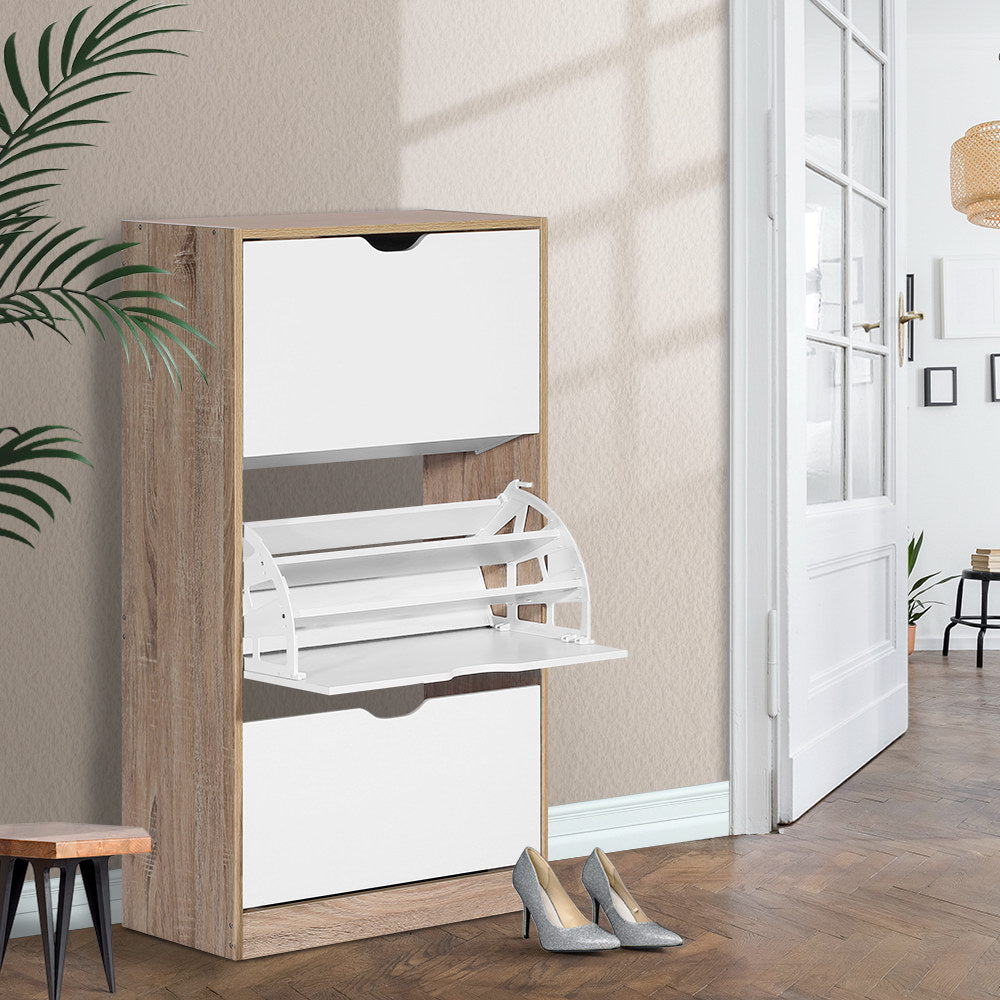 Wooden 3-Level Shoe Cabinet - The Home Accessories Company 2