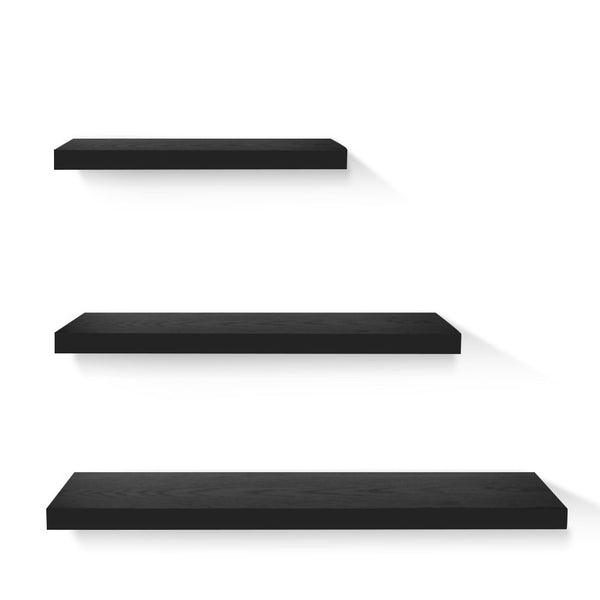 3 Piece Floating Wall Shelves - Black - The Home Accessories Company